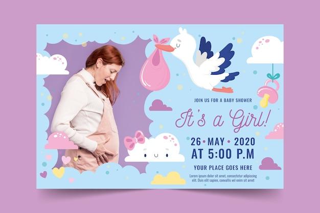 Baby douche uitnodiging sjabloon met foto