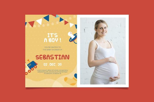Baby douche uitnodiging sjabloon voor jongen