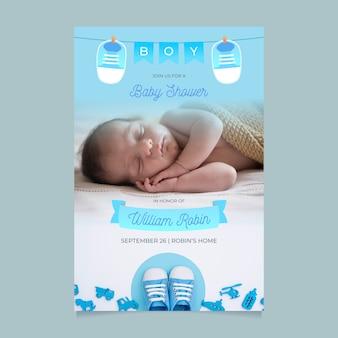 Baby douche uitnodiging sjabloon voor jongensontwerp