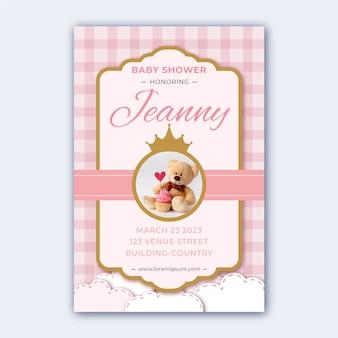 Baby douche uitnodiging sjabloon voor meisje