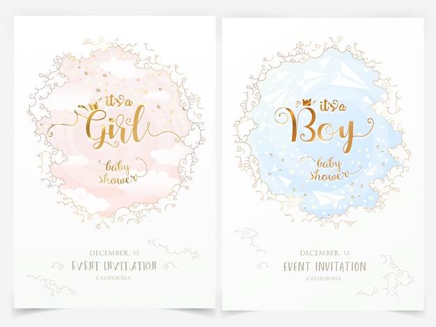 Baby douche uitnodigingssjablonen met wolken en het is een meisje, jongen belettering