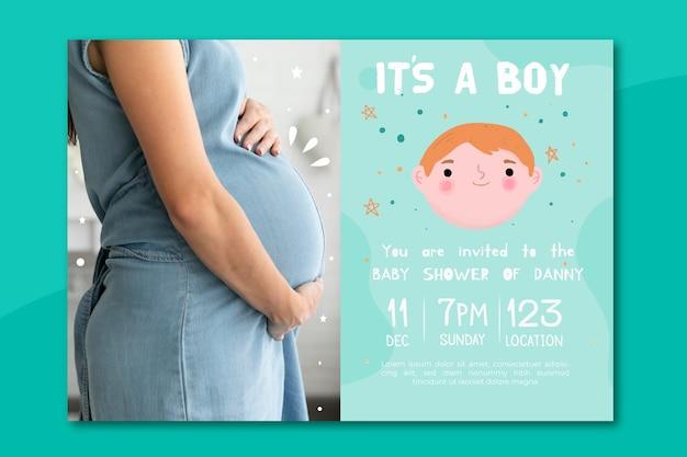 Baby douche uitnodigingssjabloon met foto (jongen)