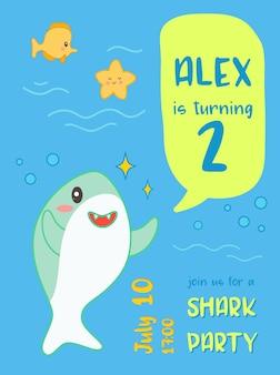 Baby douche verjaardag uitnodigingskaart kawaii stijl met schattige haai en mariene wezens. kids banner, flyer achtergrond met grappige haaien. vector illustratie