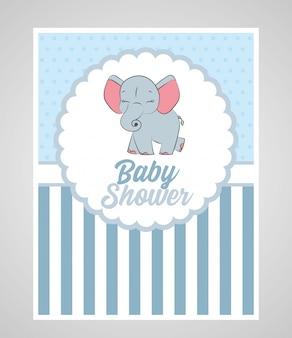 Baby douchekaart met schattige olifant