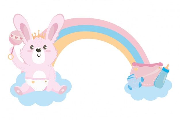 Baby douchesymbool en konijn