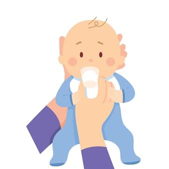 Baby drink melk uit glas