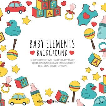 Baby elementen achtergrond in de hand getrokken stijl
