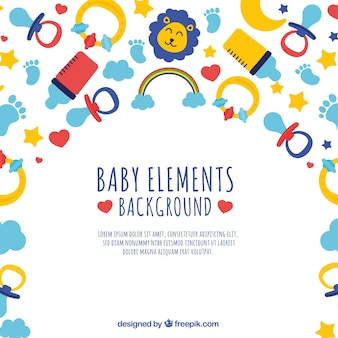 Baby elementen achtergrond in vlakke stijl