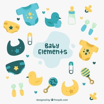 Baby elementen achtergrond met schattige speelgoed en kleding