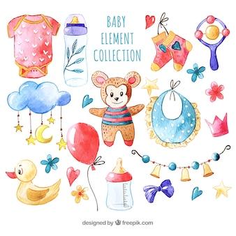 Baby elementen collectie in aquarel stijl