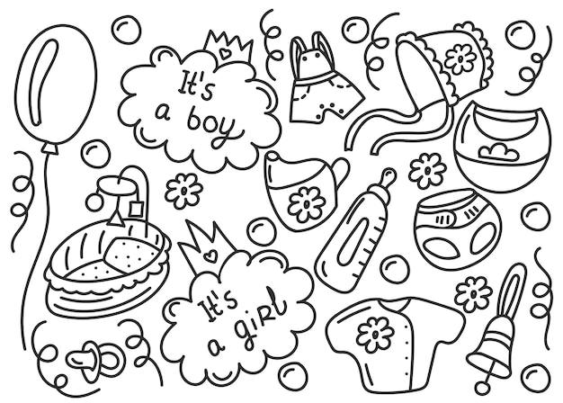 Baby elementen hand getrokken doodle set geïsoleerde vectorillustratie voor achtergronden webdesign