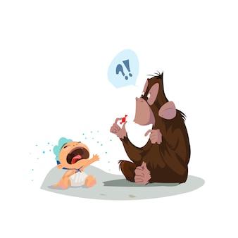 Baby en aap achtergrond