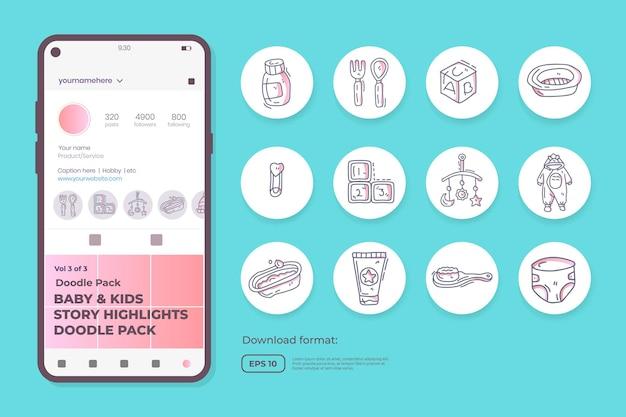 Baby en kinderen zorgen voor doodle pictogrammen voor pasgeborenen met speelgoed, eten, accessoires. teken symboolset voor sociale media highlight