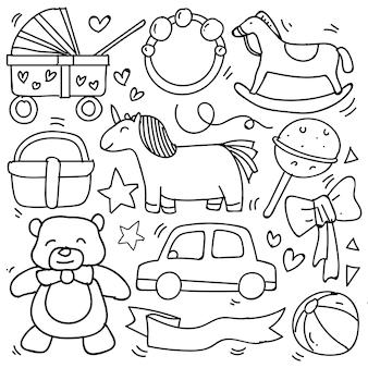 Baby en pasgeboren doodle voor pictogram, banner. cartoon schets stijl doodle met babymeisje en jongen speelgoed, voedsel, bal, ballon, maan, ster, melkfles, verjaardagselementen. met de hand getekend en vectorillustratie