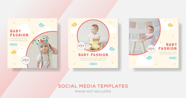 Baby fashion sale voor social media post-sjabloon voor spandoek