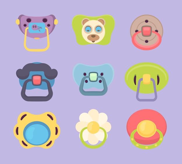 Baby fopspeen. grappige gekleurde rubberen siliconen fopspenen voor kinderen mond cartoon vectorillustratie. tepel kleine, plastic zachte siliconen fopspeen