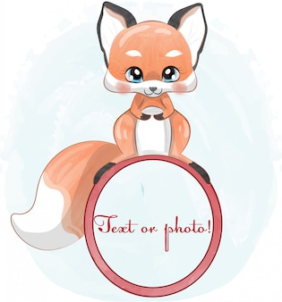Baby fox in aquarel stijl.