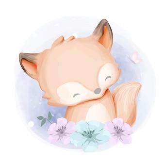 Baby foxy en prachtige bloemen