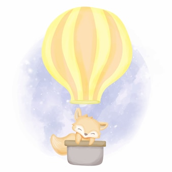 Baby foxy met vliegende ballon