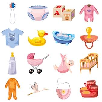 Baby geboren geplaatste pictogrammen, beeldverhaalstijl