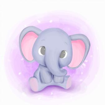 Baby geboren olifant kwekerij illustratie