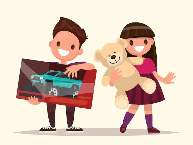 Baby geschenken. kinderen met speelgoed. illustratie