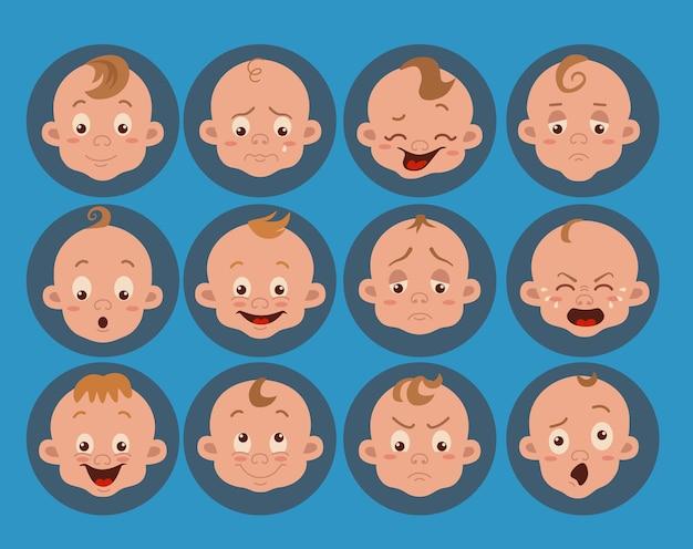 Baby gezichtsuitdrukking geïsoleerde pictogrammen