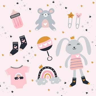 Baby girl-elementen met schattig speelgoed en kleding