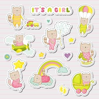 Baby girl stickers, patches voor baby shower party celebration. decoratieve elementen voor pasgeborenen. illustratie