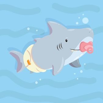Baby haai in vlakke stijl