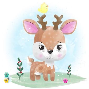 Baby herten schattig karakter geschilderd met waterverf