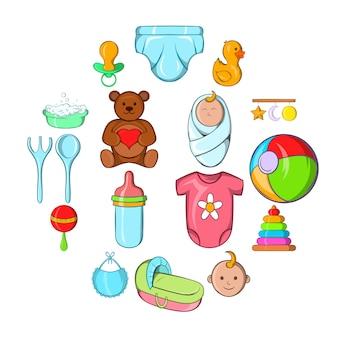 Baby iconen set, cartoon stijl