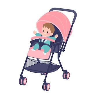 Baby in een kinderwagen.