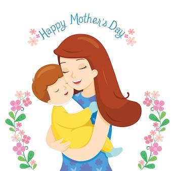Baby in een tedere omhelzing van moeder, gelukkige moederdag