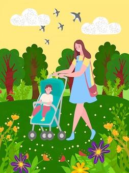 Baby in wandelwagen en moeder wandelen in groen park