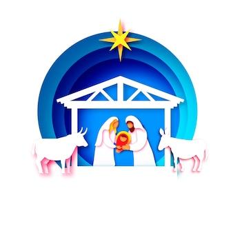 Baby jezus christus. heilig kind en gezin. maria en jozef. geboorte van christus ster van bethlehem - oost-komeet. kerststal in papier kunststijl. gelukkig nieuwjaar. dieren. blauw.