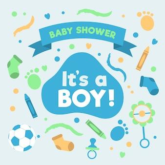 Baby jongen douche evenement ontwerp