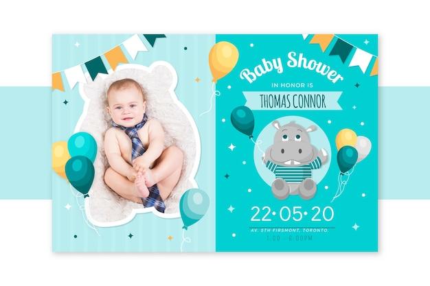 Baby jongen douche uitnodiging sjabloon aankondiging
