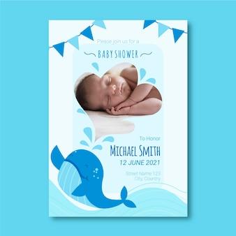 Baby jongen douche uitnodiging sjabloon met foto