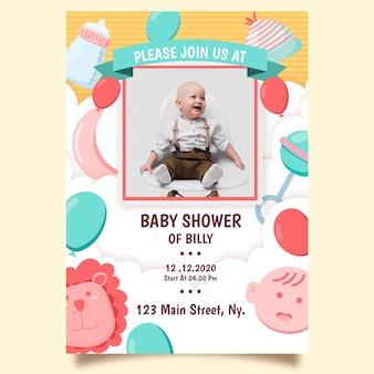 Baby jongen douche uitnodiging sjabloon thema