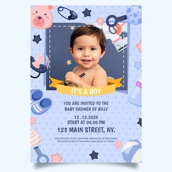 Baby jongen douche uitnodiging sjabloonontwerp