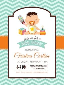 Baby jongen douche uitnodiging