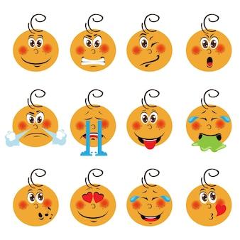 Baby jongen emoji set van emoticons icons