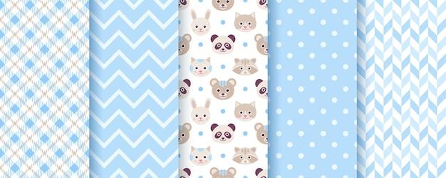 Baby jongen patroon. naadloze achtergronden. blauwe kindertexturen met dieren, stippen, zigzag en plaid