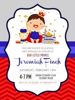 Baby jongen prins verjaardagsuitnodiging