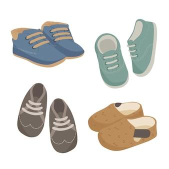 Baby jongen schoenen icon set Premium Vector