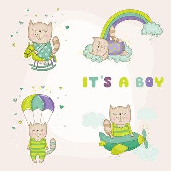 Baby kat set baby shower kaart