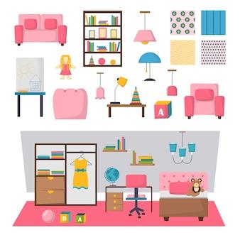 Baby kinderkamer interieur set.