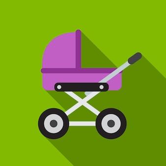 Baby kinderwagen platte pictogram illustratie geïsoleerde vector teken symbool