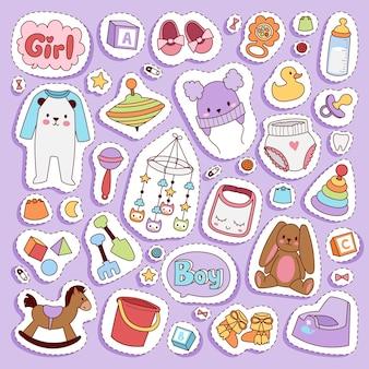 Baby kleine pasgeboren babykleding en speelgoed icon set design casual textielstof en babykleding